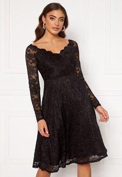 Goddiva Long Sleeve Lace Midi Dress Black Bubbleroom.se