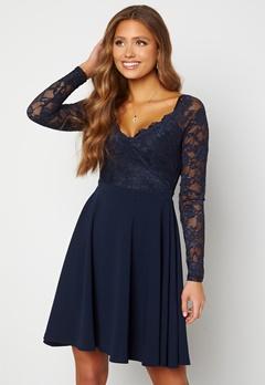Goddiva Long Sleeve Lace Skater Dress Navy Bubbleroom.se