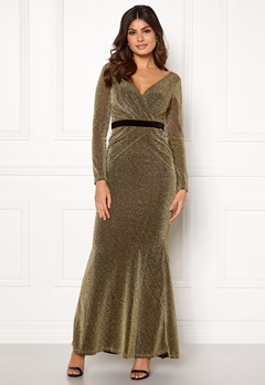 Goddiva Lurex Crossover Dress Gold Bubbleroom.se