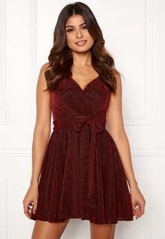 Goddiva Lurex Skater Dress Red Bubbleroom.se