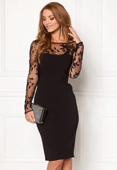 Goddiva Mesh Midi Dress Black Bubbleroom.no