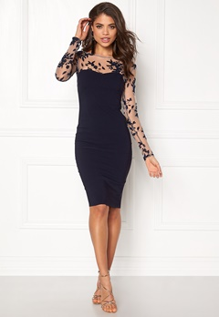 Goddiva Mesh Midi Dress Navy Bubbleroom.se