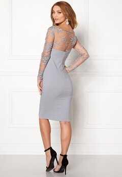Goddiva Mesh Midi Dress Silver Bubbleroom.se