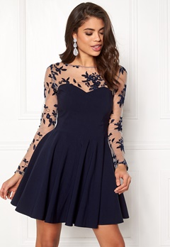 Goddiva Mesh Skater Dress Navy Bubbleroom.se