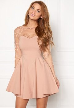 Goddiva Mesh Skater Dress Nude Bubbleroom.se