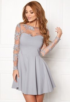 Goddiva Mesh Skater Dress Silver Bubbleroom.se