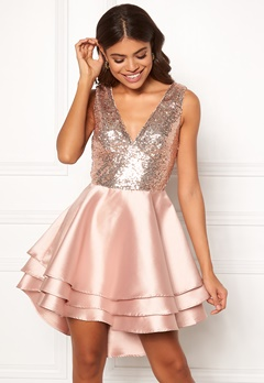 Goddiva Multi Layered Satin Dress Champagne Bubbleroom.se