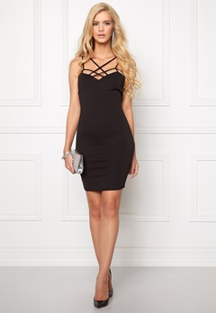 Goddiva Multi Straps Mini Dress Black Bubbleroom.se