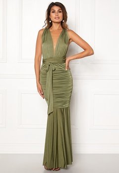 Goddiva Multi Tie Fishtail Dress Olive Bubbleroom.se