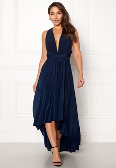 Goddiva Multi Tie High Low Dress Navy Bubbleroom.se