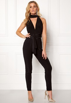 Goddiva Multi Tie Jumpsuit Black Bubbleroom.no