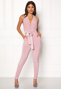 Goddiva Multi Tie Jumpsuit Dusty Pink Bubbleroom.fi