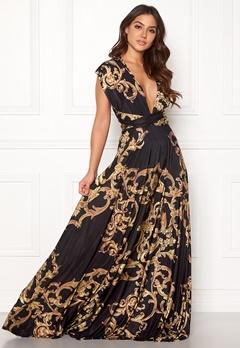 Goddiva Multi Tie Maxi Dress Baroque Print Bubbleroom.se