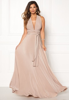 Goddiva Multi Tie Maxi Dress Latte Bubbleroom.se