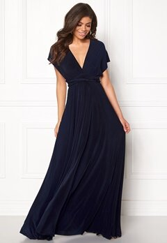 Goddiva Multi Tie Maxi Dress Navy Bubbleroom.se