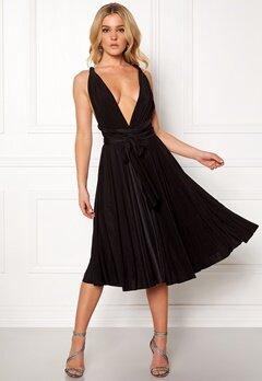 Goddiva Multi Tie Midi Dress Black Bubbleroom.no