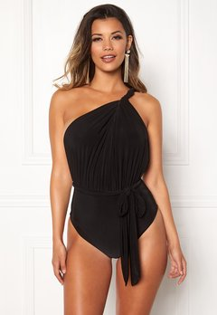 Goddiva Multi Tie Swimsuit Black Bubbleroom.se