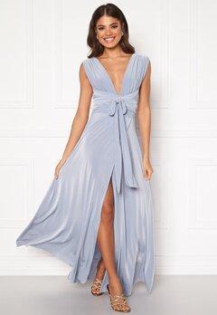 Goddiva Multi Tie Wrap Maxi Dress Dusty Blue Bubbleroom.se