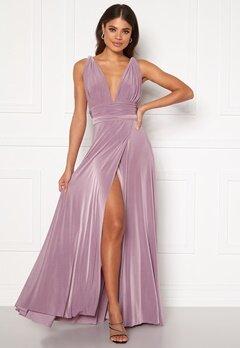 Goddiva Multi Tie Wrap Maxi Dress Dusty Lavendel Bubbleroom.se