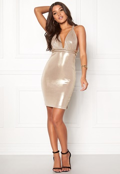 Goddiva Multi Way Metallic Dress Gold Bubbleroom.dk