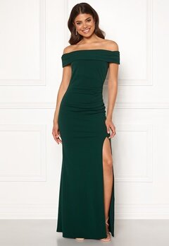 Goddiva Off Shoulder Pleat Dress Emerald Bubbleroom.se