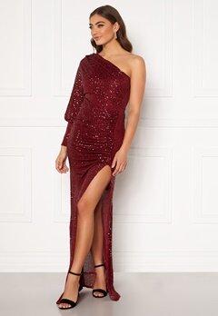 Goddiva One Shoulder Maxi Dress Wine Bubbleroom.se