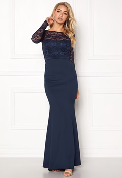 Goddiva One Back Lace Dress Navy Bubbleroom.no