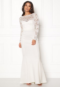 Goddiva Open Back Lace Dress White Bubbleroom.se
