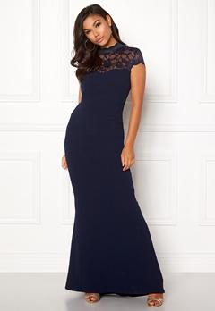 Goddiva Open Back Lace Maxi Dress Navy Bubbleroom.se