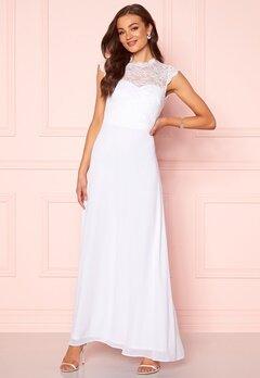 Goddiva Open Back Lace Maxi Dress White Bubbleroom.se