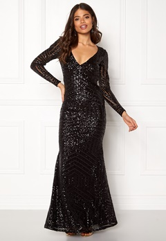 Goddiva Open Back Sequin Dress Black Bubbleroom.dk
