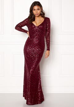 Goddiva Open Back Sequin Dress Wine Bubbleroom.se