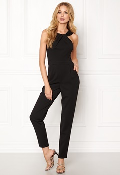 Goddiva Pleat Neckline Jumpsuit Black Bubbleroom.no