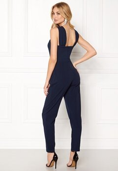 Goddiva Pleat Neckline Jumpsuit Navy Bubbleroom.no