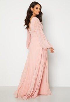 Goddiva Pleated Balloon Sleeve Maxi Dress Blush Bubbleroom.se