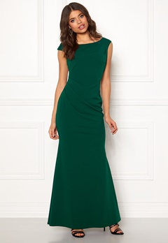 Goddiva Pleated Fishtail Dress Emerald Bubbleroom.se