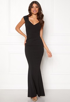 Goddiva Pleated Maxi Dress Black Bubbleroom.se