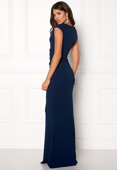 Goddiva Pleated Maxi Dress Navy Bubbleroom.se
