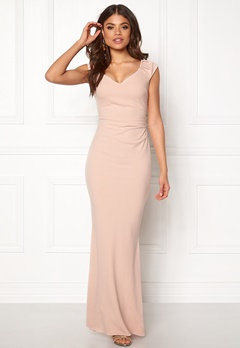 Goddiva Pleated Maxi Dress Nude Bubbleroom.se