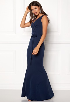 Goddiva Pleated Maxi Dress Tie Navy Bubbleroom.dk