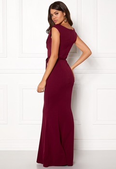 Goddiva Pleated Maxi Dress Tie Wine Bubbleroom.dk