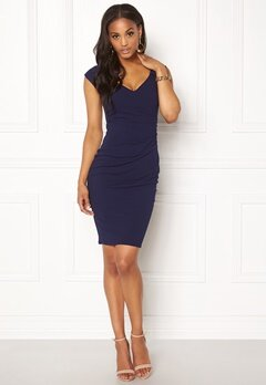 Goddiva Pleated Midi Dress Navy Bubbleroom.fi