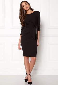 Goddiva Pleated Midi Tie Dress Black Bubbleroom.dk