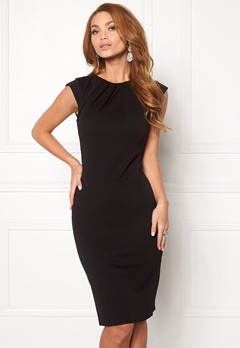 Goddiva Pleated Neckline Dress Black 1 Bubbleroom.fi