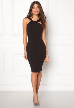 Goddiva Pleated Neckline Dress Black Bubbleroom.dk