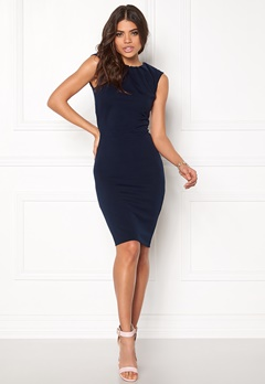 Goddiva Pleated Neckline Dress Navy Bubbleroom.se