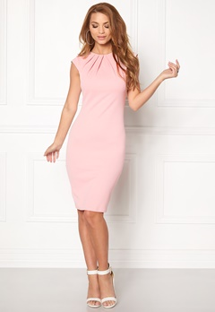 Goddiva Pleated Neckline Dress Pink Bubbleroom.fi