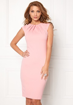 Goddiva Pleated Neckline Dress Pink Bubbleroom.se