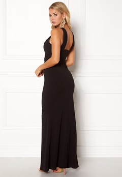 Goddiva Pleated Neckline Maxi Black Bubbleroom.no