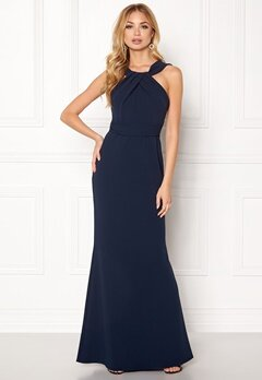 Goddiva Pleated Neckline Maxi Dress Navy Bubbleroom.se